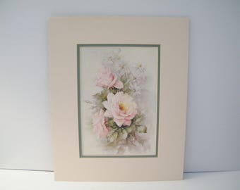 Sonie Ames Roses Print, Vintage art is matted, very nice condition, DIY framing, 13 x 16, elegant beauty for multiple room, chiq decor