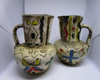 Pottery Pitchers Clay Rustic Pitchers Colorful Vintage Home Decor Vases