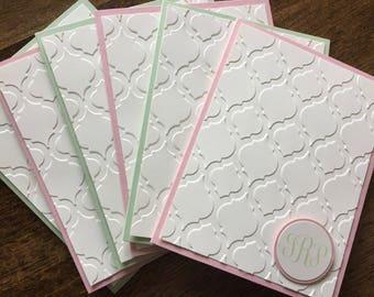 Monogram stationery, personalized stationery set, Monogram gift set, Monogram cards - set of 10