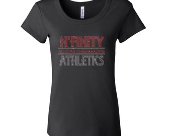 Rhinestone Nfinity Cheer Short Sleeve Scoop Neck Fitted Tee