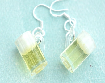 beer mug earrings- miniature food jewelry, food earrings, dangle earrings
