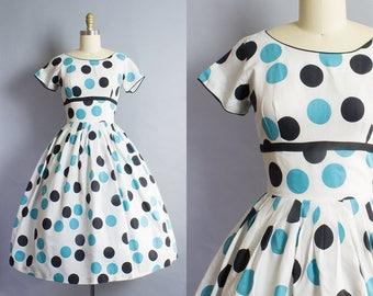 1950s Large Print Polka Dot Dress/ Extra Small (35B/24W)
