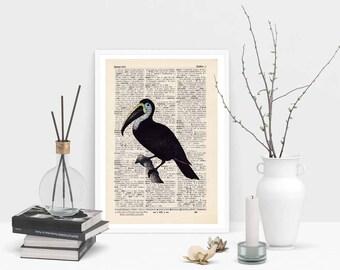 Pressure - EXOTIC BIRD No.. 3 - antique book page