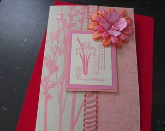 Asian Happy Birthday Card, with symbols and English, flowers, beautiful handmade card!