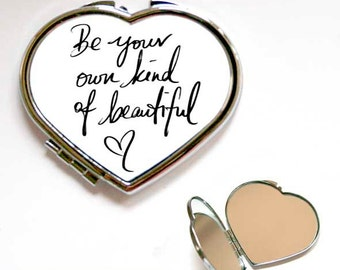 Be Beautiful Quote Square or Heart Shape Compact Mirror, Handbag mirror, Accessories, Pocket Mirror, Make Up Mirror,  Gift, Present