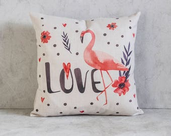 Flamingo Pillow Cover, Flamingo Throw Pillow, Decorative Pillow Cover, Cushion Cover, Christmas Gift Idea