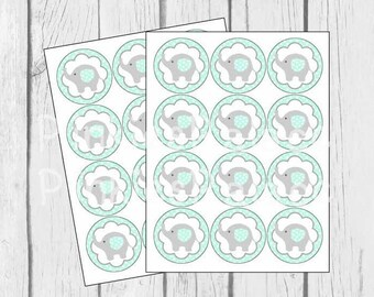 Baby Elephant Stickers Envelope Seals Mint Green Baby Shower Envelope Seal - SES424