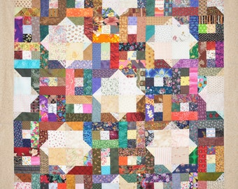 Bedford Mystery 4, by Lessa Siegele this versatile Scrap Quilt Pattern is easy to make and can be cut on an Accuquilt. Easy Beginner Pattern