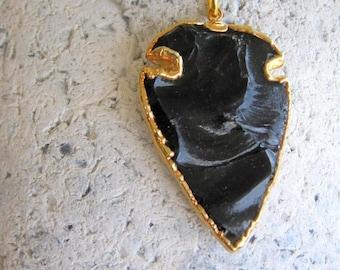 NEW - Volcano - Black Obsidian Arrowhead Pendant Edged in 24k gold