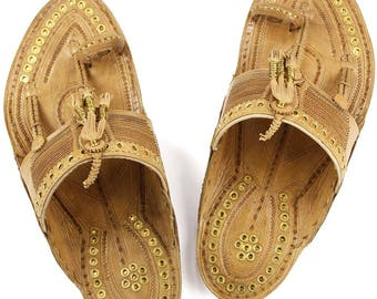 Awesome Golden Rivets Authentic Kolhapuri Chappal for Men M-121
