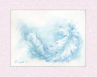 Original Watercolor painting Blue feather, peaceful room decor, gentle angelic illustration, calming art