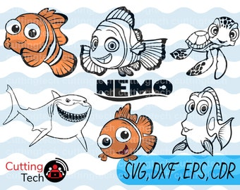Finding Nemo svg, Disney Cartoon eps, dxf Nemo silhouette, Dory svg , Squirt dxf, Nemo fish silhouette files cutting files,instant download