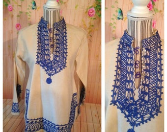 Vintage Cotton Blue and Off White Tunic