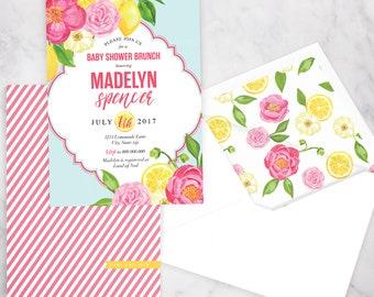 Summer Citrus Baby Shower Invitation, Baby Girl Shower, Baby Shower Invite, Pink Lemonade Shower Invite, Lined Envelopes