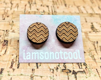 ZigZag Earrings / Wood Stud Earrings / Laser-Cut Studs / Walnut Wood Earrings / Hypoallergenic / Round ZigZag Circle Earrings