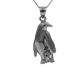 925 Sterling Silver Penguin Necklace