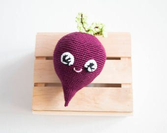 Crochet  Beet Baby Toy, ecofriendly Crochet vegetable, Play Food Toy, Amigurumi Beet, Kitchen decor, Educational handmade toy