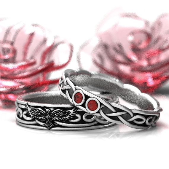 RESERVED FOR Olivier Celtic Wedding Ring Set With Infinity Symbol Pattern, Celtic Raven & Rubies in Sterling Silver Custom Made 1210 1211