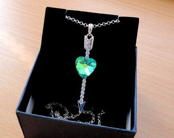 Swarovski crystal Heart necklace Crystal necklace Swarovski necklace Crystals Gift for her Crystal jewelry Heart pendant Ocean jewelry Jm