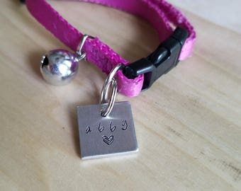 Abby Custom Hand Stamped Cat Kitten Collar Tag