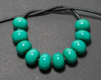 Spacer beads set, Green lampwork spacer beads, Lampwork beads, Green glass spacer, Lampwork spacer