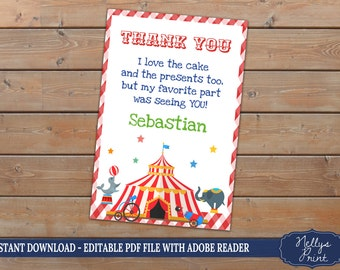 Circus Thank You card, Circus Party Thank You, Thank You card, Circus Thank You, Self Editable PDF file, Instant Download, Thank You Card