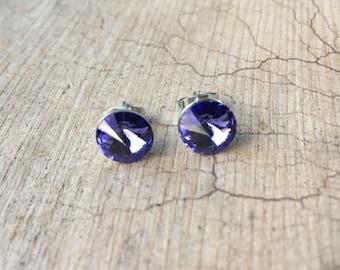 Tiny Posts Swarovski Tanzinite Rivoli Crystal Post Earrings 8mm