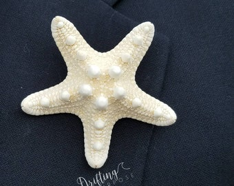 Starfish Boutonniere Set, Beach Boutonniere, Coastal or Nautical Wedding Boutonniere, Beach Groomsmen, Starfish Pin, Mermaid Wedding