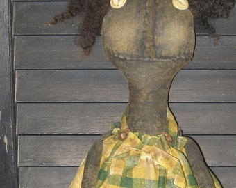 "Arvella---A Primitive Black 19"" Crazy Feet Doll IMMEDIATELY DOWNLOADABLE E-PATTERN"