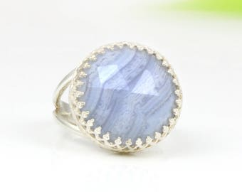 MOTHER'S DAY SALE - Lace agate ring,silver ring,double band ring,cocktail ring,solitaire ring,gemstone ring,agate stone ring