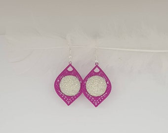 Pink and bright white earrings