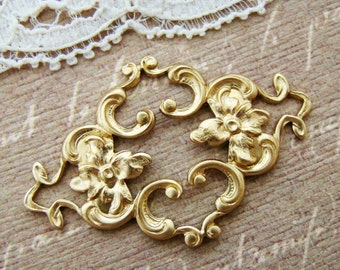 Ornate Victorian Brass Flower Filigree Connector Stampings Findings - 2