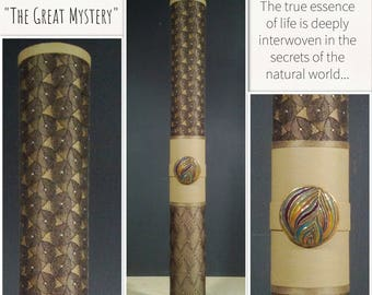 "The Great Mystery - mixed media, fiber art, cylindrical, wallhanging or shelf-top, assamblage ... 19""Tall x 2""Diam"