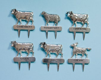Vintage cheese labels - Silver plated - Silea France