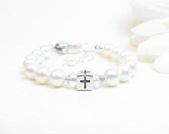 Baptism Bracelet - Christening Bracelet - 1st Communion Gift - Girl Confirmation Gift - Girl Baptism Gift - Dedication Gift - Baby Cross