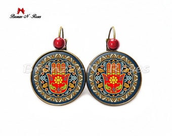 """Hamsa"" hand of Fatima costume jewelry earrings stud earring"