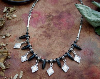 Black dagger and metal Bead Necklace