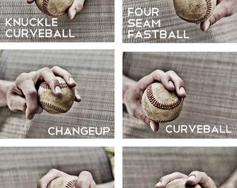 Set of 3 Black & White Photos Baseball pitches Boys Art Series