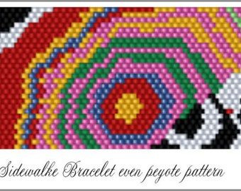 Copacabana Sidewalk Bracelet - Peyote PATTERN - 7.5 inches