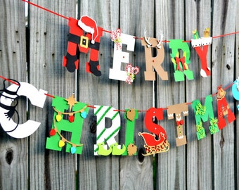 Christmas, Mantle Decor, Christmas Photo Prop, Holiday Banner, Letter Banner, Whimsical Christmas Banner, Christmas Decor, 3D Christmas Sign