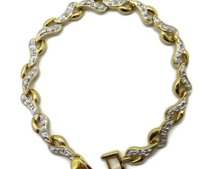 Vintage Diamond Bracelet, Tennis Bracelet, Sterling Silver Links, Gold Plated Bracelet, Bridal Jewelry