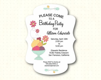 Teen Birthday Party Invitation, die-cut bracket design, tween, teenager, kids, girls, 10th, 12th, 13th, 14th birthday invite, K21351