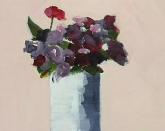 flower painting floral art purple and pink sweet peas spring art 9x12 pamela munger painterly still life
