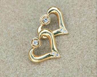 Convertible Rhinestone Heart Earrings Vintage