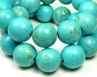 14mm Blue Magnesite Matrix Round Gemstone Beads - 14pcs - BC4