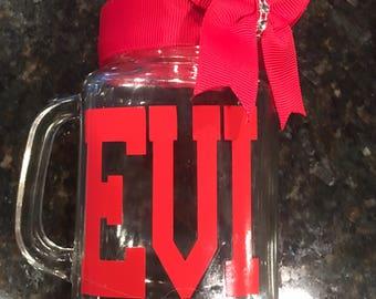 Personalized Mason Jar Glasses-Mason Jar Mugs- Wedding Gifts- cheerleader gifts-Custom Mason Jar-Monogrammed Mason Jar-Monogram gifts