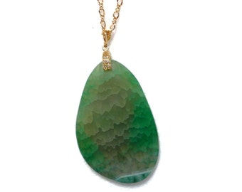 Fern Green Necklace, Agate Necklace, Geode Necklace, Dragon Vein Pendant, Gemstone Necklace, Nature Natural Jewelry, Birthday Gift for Her