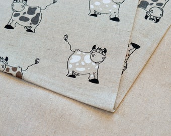 Linen cows fabric 19,68 x 59 inch