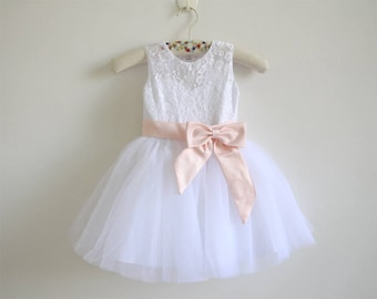 White Lace Flower Girl Dress Blush Pink Baby Girls Dress Lace Tulle White Flower Girl Dress With Blush Pink Sash/Bows Sleeveless