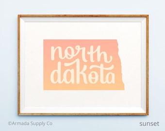 North Dakota print - North Dakota art - North Dakota poster - North Dakota wall art